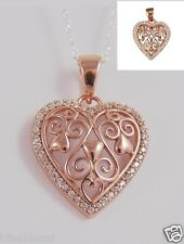 925 Sterling Silver Rose Gold P Filigree CZ Heart Pendant Anniversary  LOVE GIFT