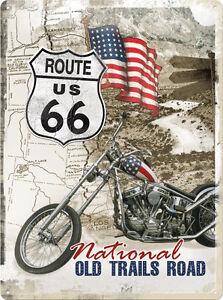 Route 66 Bike National Trails Road Blechschild 3D geprägt Tin Sign 30 x 40 cm