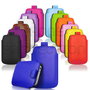 QUALITY PU LEATHER PULL TAB CASE COVER POUCH SLEEVE FOR VARIOUS PHONES/HANDSETS