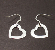 Textured Open Heart Dangle Earrings French Wire Real 925 Sterling Silver