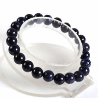 Natural 10mm Blue Sandstone Round Gemstone Beads Elastic Bracelet 7.5''