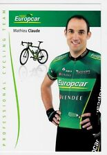 CYCLISME carte cycliste MATHIEU CLAUDE équipe EUROPCAR 2012