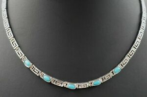 Turquoise Womens Necklace 925 Sterling Silver Chain Fine Jewellery Length: 42cm