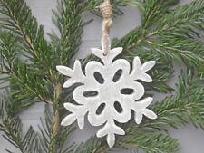 Copo de Nieve Madera Gris 15cm Colgante Deco Objeto Navidad Decoración