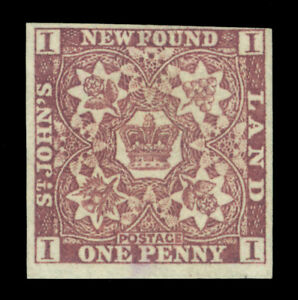 NEWFOUNDLAND  1857  British Dominion  1p brown violet  Scott # 1 unused F/VF