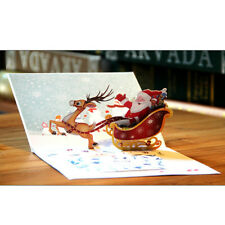 3D Christmas Pop Up Greeting Cards Santa Claus Deer Xmas Gift With Envelope