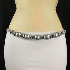 New Women Hip High Waist Silver Metal Chain Fashion Belt Big Gray Beads S M L XL