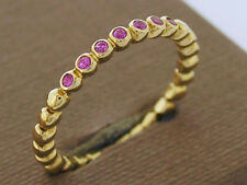 R255 Solid 9ct Yellow Gold Stackable Ring Band 7-stone Natural Pink Sapphires N