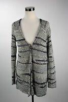 Lucky Brand Black White Knit Open Draped Long Boho Sweater Cardigan Button M