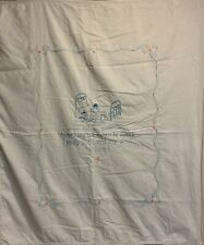 Vintage Baby Crib Coverlet Sheet Hand Embroidered 52� X 44�