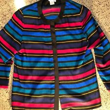 100% Silk Multicolored TALBOTS Long Sleeve Blazer Jacket 12 Padded Shoulder Pink