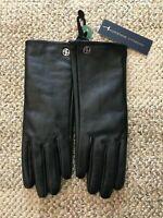 Womens Adrienne Vittadini 100% Leather Gloves Black Size Medium Cashmere Lined