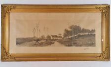 Antique HUNTER or SOLDIER & DOG Coming Home JAMES TYROLER 1901 Landscape Etching