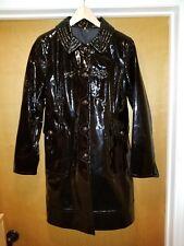 Elie Tahari Patent Leather Coat Jacket Trench 3/4 black medium Josaphina $1398
