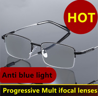 Memory Titanium Alloy Progressive Reading glasses Anti Blue light Half-frames