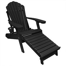 New Deluxe Outer Banks Black Poly Adirondack Chair w/ Integrated Footrest