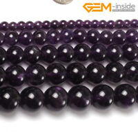 "Natural Round Purple Amethyst Gemstone Spacer Beads For Jewellery Making 15"" DIY"
