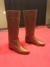 9 Nine West Q-Louisa Brown Leather Knee High Boots Womens Size 8M