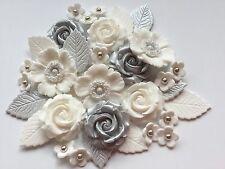 Silver Wedding Blooms Cupcake Edible Sugarpaste Flower Cake Decorations