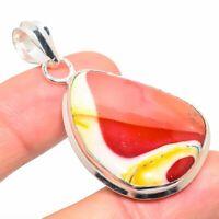 "Brecciated Mookaite Gemstone Ethnic Handmade Gift Jewelry Pendant 2.13"" JH"