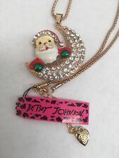 Betsey Johnson glisten crystal & color enamel  Santa & Moon Necklace-BJ6601
