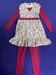 TEA COLLECTION floral dress size 8 purple leggings size 7 set $66 only worn 1x