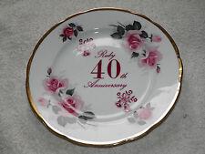 Anniversary Plates - 40th Ruby Wedding - 3 Bone China Side Desert Cake Plates