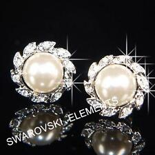 18K White Gold Plated Earrings use Swarovski Crystal Pearls Bridesmaid Prom E491
