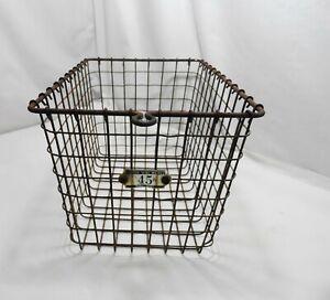 Vintage Kasper Gym Pool  Locker wire Basket  9 x 12 Primitive Farmhouse