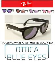 Occhiali da Sole RAYBAN RB 4105 FOLDING WAYFARER MATTE BLACK MIRROR Sunglasses