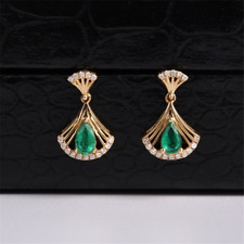 0.75 CT Natural Colombian Emerald & Diamond Earrings in 14K Yellow Gold Over