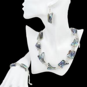 Statement Necklace Earrings Bracelet Jewelry Set Abalone Shell Choker Bib Collar