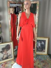 Vtg Leslie Faye Orange Maxi Dress Sleeveless Layered Bodice Accent Sz 10