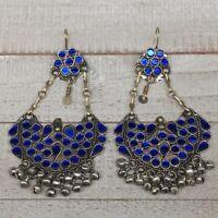 "4.7"", Long Handmade Afghan Kuchi Earring Dangle Blue Glass Bells Chain, KE199"