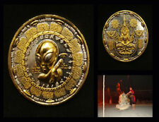 Rare Thai Amulet Holy Buddha Alien UFO 1st coin Power lucky ,prosper Aj Mom No.3