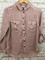 American eagle womens medium button front shirt top pink roll tab sleeve O7