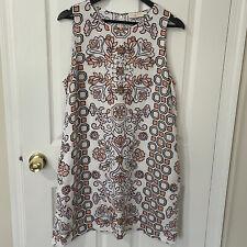 Tory Burch Dress Hicks Garden Party Pink Floral Print Dress Linen Size XL