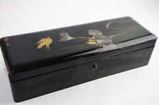 Vintage Japanese Wooden Lacquer Ware Lacquered box Narcissus and Bird Long Black