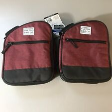 Lot Of 2 Fulton Bag Co. Lunch Bag Upright Insulated Tote Zippered New Red