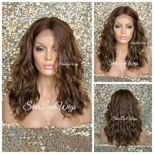 Lace Front Wig Mixed Brown Auburn #4 #27 #30 Wavy Heat Safe Middle Part