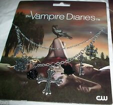 VAMPIRE DIARIES Cross Chain RAVEN Black ROSE Multi Charm JEWELRY NECKLACE Elena
