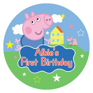 24 Glossy Personalised George Pig Stickers for Party & Sweet  Bags 45mm Dia Blue