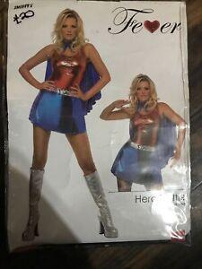 FEVER HERO HOTTIE COSTUME, SUPERMAN,SUPERWOMAN FANCY DRESS, L 16-18