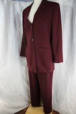 Jones New York White Lable Burgandy Pant Suit 100% Wool Womans Size 10
