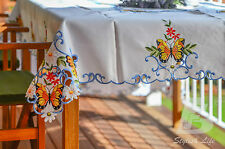 """Large Oblong Table Cloth, Embroidered Butterflies, 180x270cm (72""""x108"""") FFD018B"""