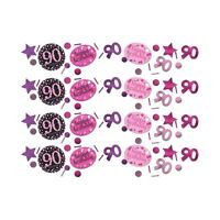 Pink Sparkling Celebration 90th Confetti Birthday Party Table Sprinkles 34g