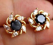 18K Yellow Gold Filled - Windmill Black Onyx Topaz Jewelry Women Stud Earrings
