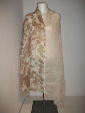 Hemisphere beige-rostfarbenes raffiniertes Tuch Schal Leinen und Wolle floral