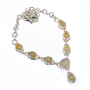 """Golden Rutilated Quartz Solid 925 Sterling Silver Necklace Jewelry 17.99"""" W3121"""