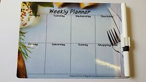 Magnetic Weekly Planner Meal Memo Fridge A5 Dry wipe Diet Budget